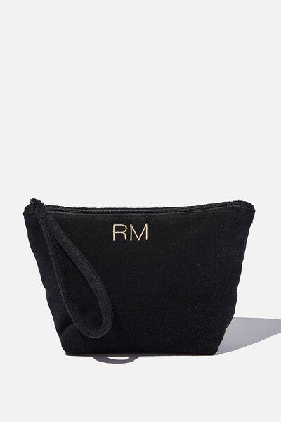 Personalised Towelling Cos Bag, BLACK