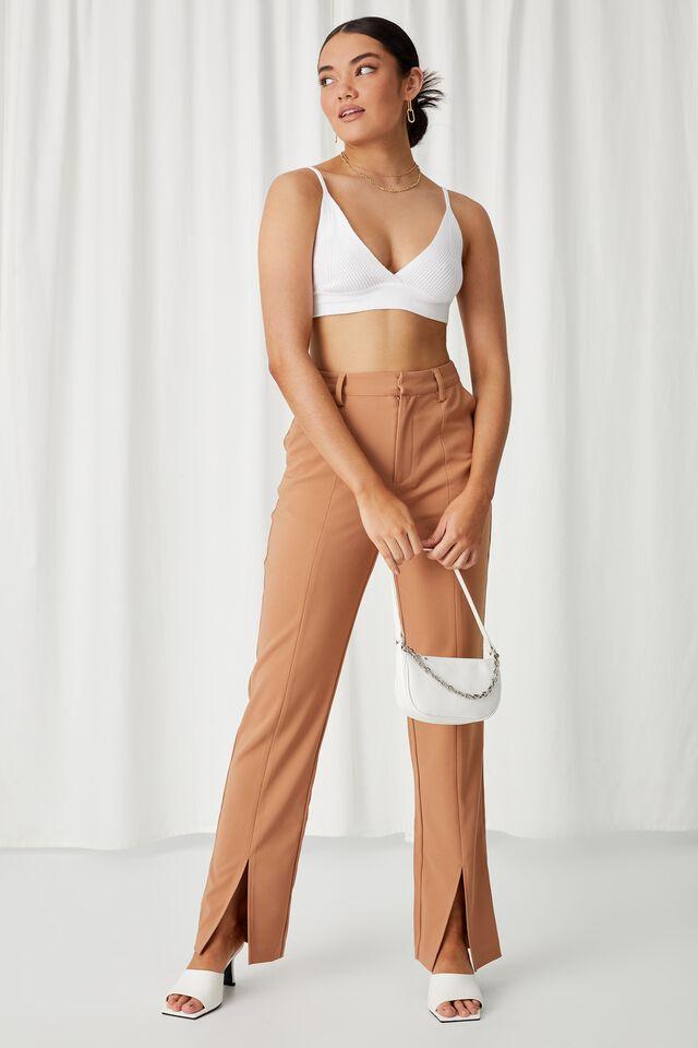 Angelina Tri Knit Bralette Top, WHITE