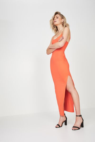 Party Strappy Maxi Dress, TANGERINE
