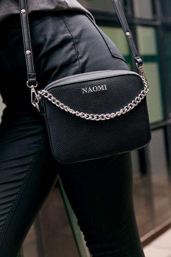 Customised Chain Cross Body Bag, BLACK PEBBLE