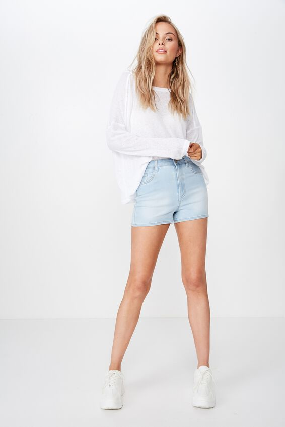 The Sky High Denim Short, CRYSTAL BLUE