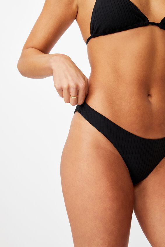Honolulu High Cut Bikini Bottom, BLACK/WIDE RIB