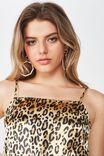 Phoebe Satin Strappy Midi Dress, OCELOT LEOPARD
