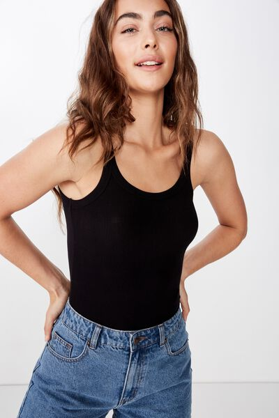 Leigh Rib Top, BLACK