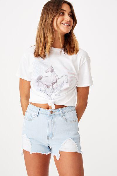 Lola Printed Longline T Shirt, WHITE/PARADISE VALLEY HORSE