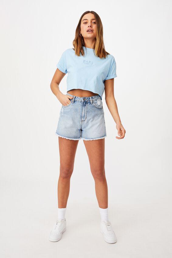Tamara Printed Crop T Shirt, BLUE BELL/MAUI