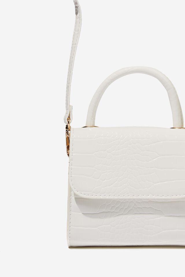 Tiana Small Bag, WHITE CROC SHINY