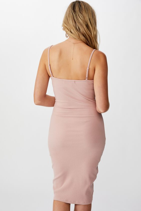 Serena V Neck Midi Dress, PINK TOAST