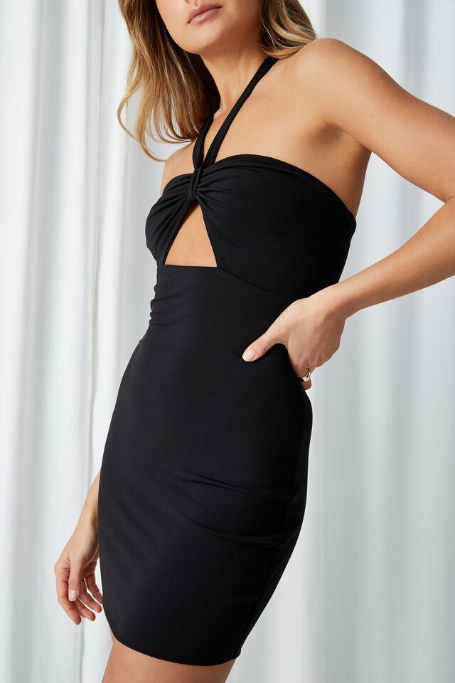 Marnie Knot Halter Mini Dress, BLACK