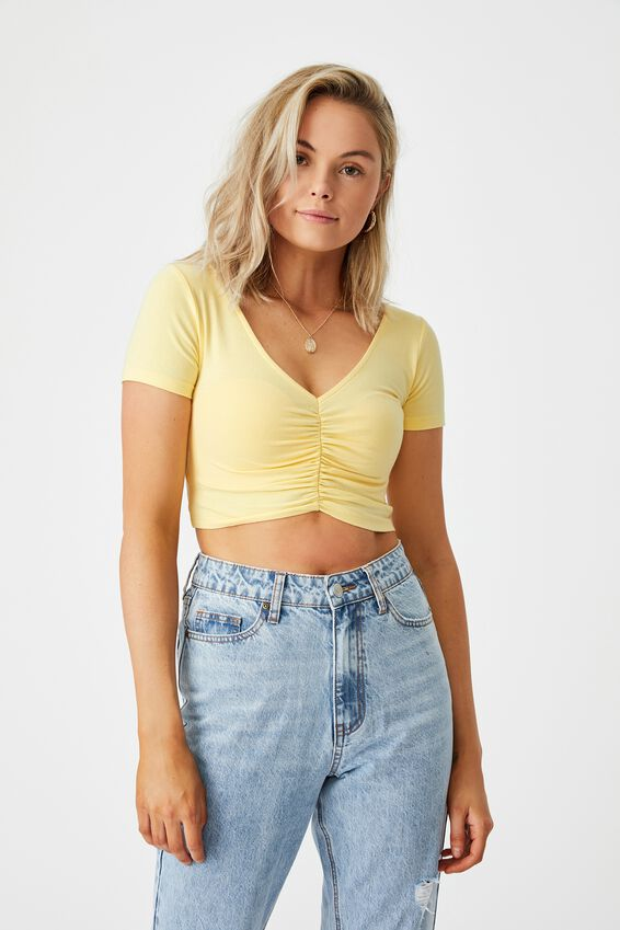 Daphne Ruched V Neck Top, BANANA YELLOW