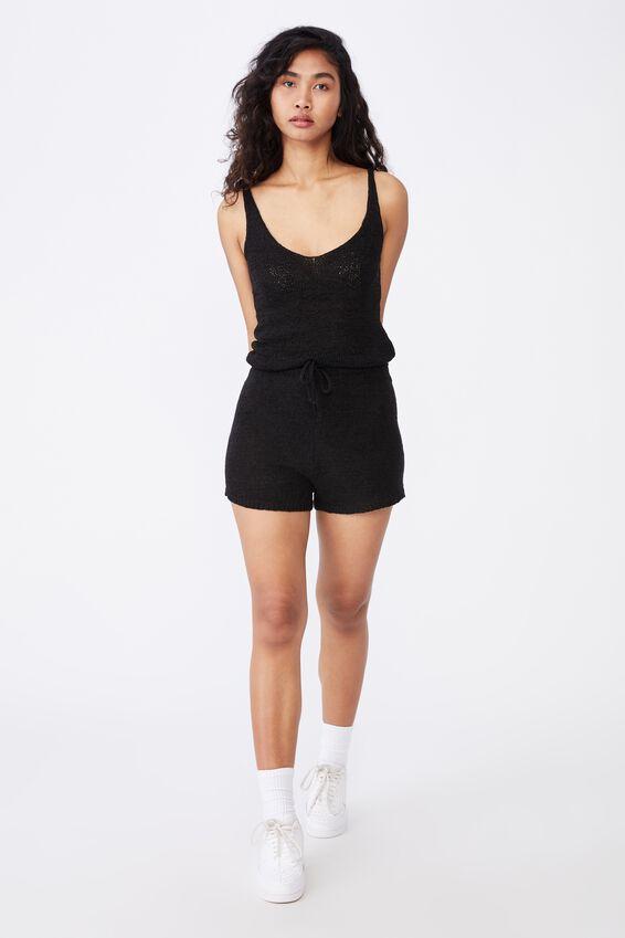 Renetta Knit Cami Co Ord, BLACK