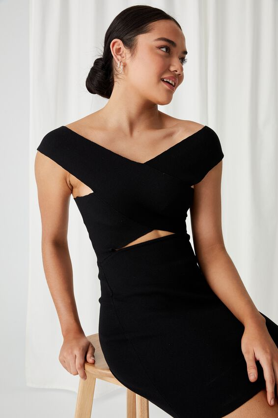 Stella Bodycon Mini Dress, BLACK