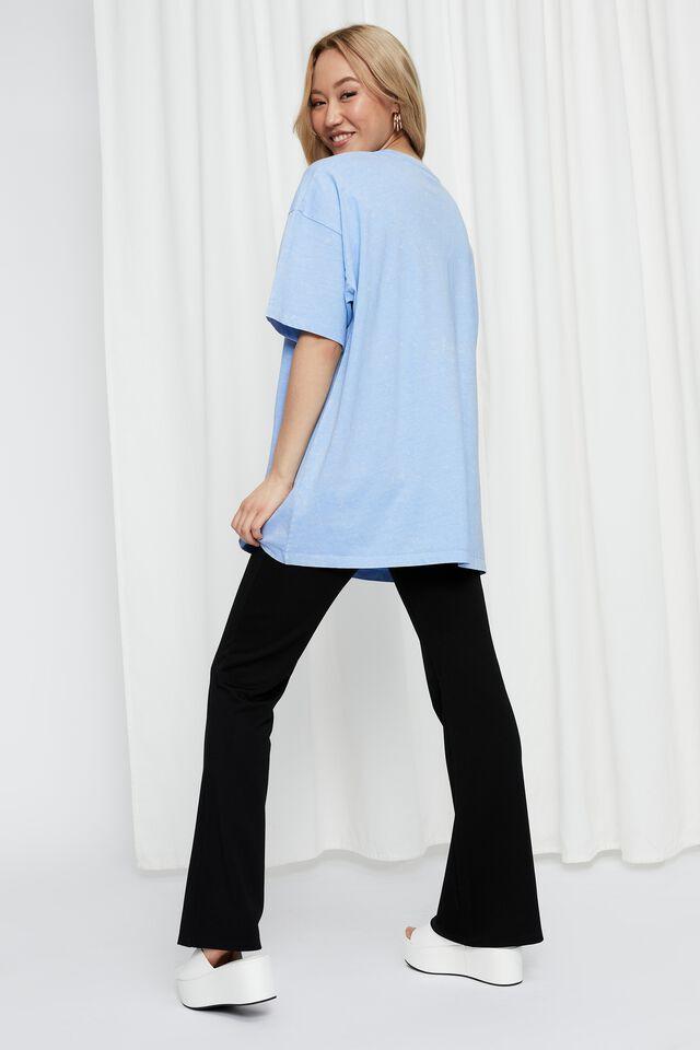 Camryn Oversized Printed T Shirt, ACID WASH LOTUS BLUE/USA EAGLES