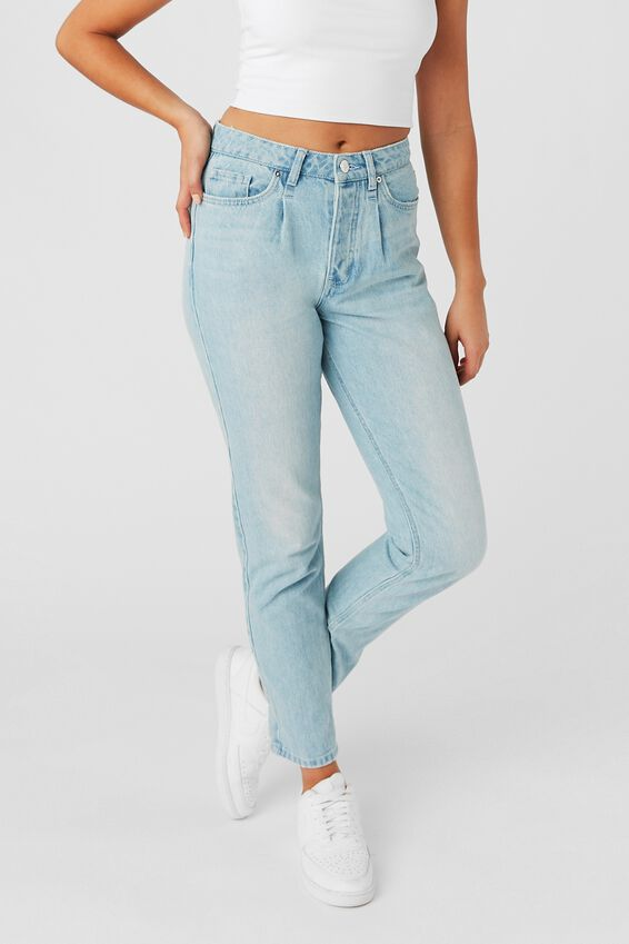 The Mom Denim Jean, PRETTY LIGHT BLUE PLEAT