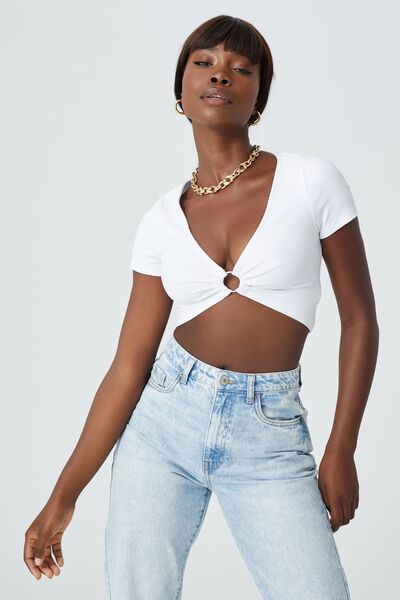 Camille Short Sleeve Ring Top, WHITE