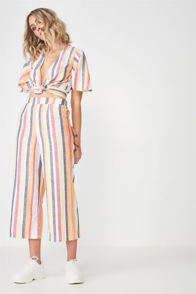 Crop Wide Leg Linen Blend Pant, SUNRISE STRIPE