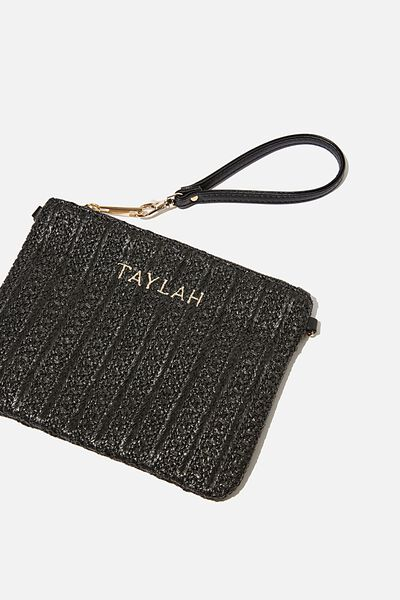 Customised Sofia Zip Pouch, BLACK TEXTURE