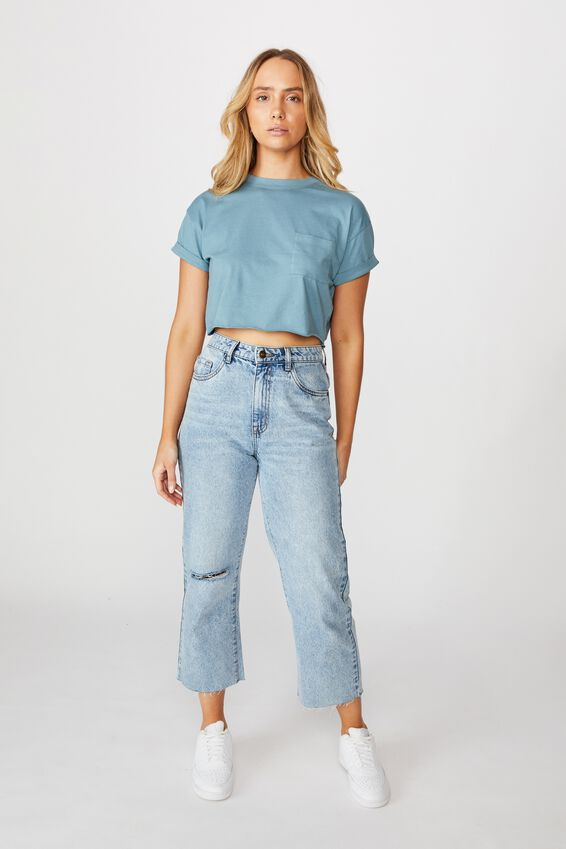Ciara Crop T-Shirt, FADED BLUE JADE