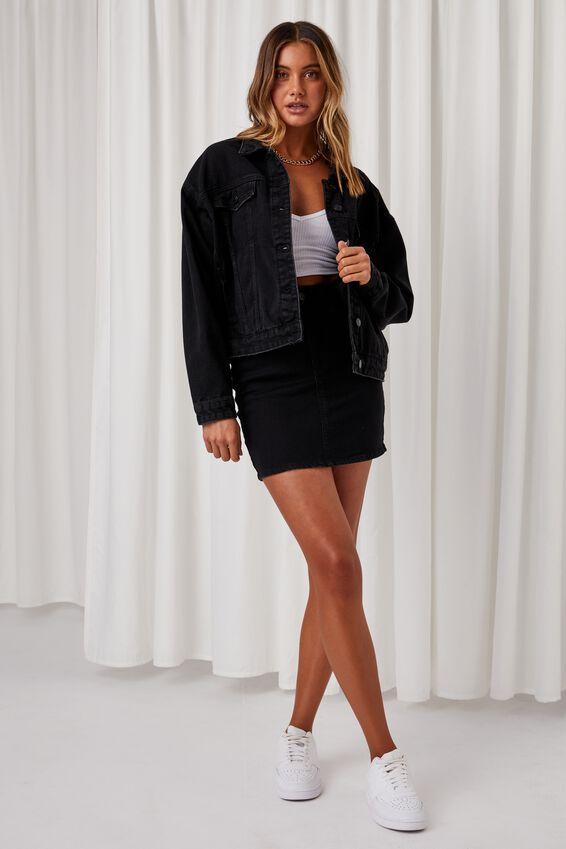 80S Denim Jacket, BLACK