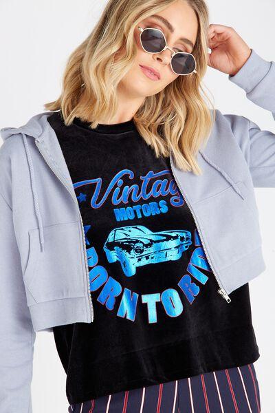 Cropped Zip Through Hoodie, BLUE