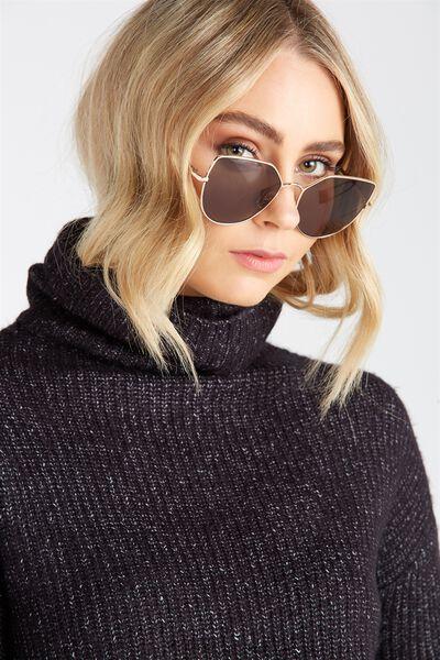 Lulu Angular Sunglasses, GOLD/BLACK