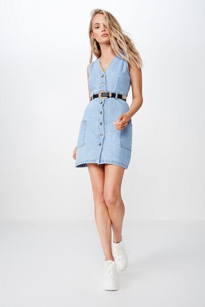Monica Button Through Denim Dress, MID BLUE
