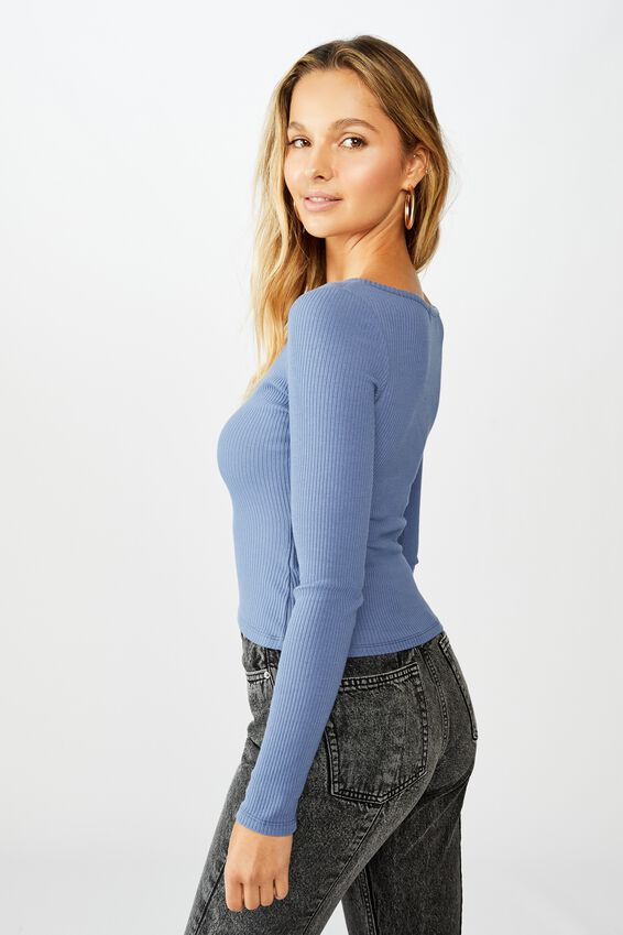Tara Notch Front Long Sleeve Top, JEAN BLUE