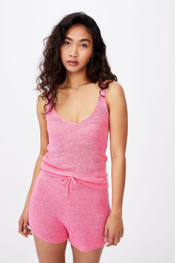 Renetta Knit Cami Co Ord, PUNCH PINK