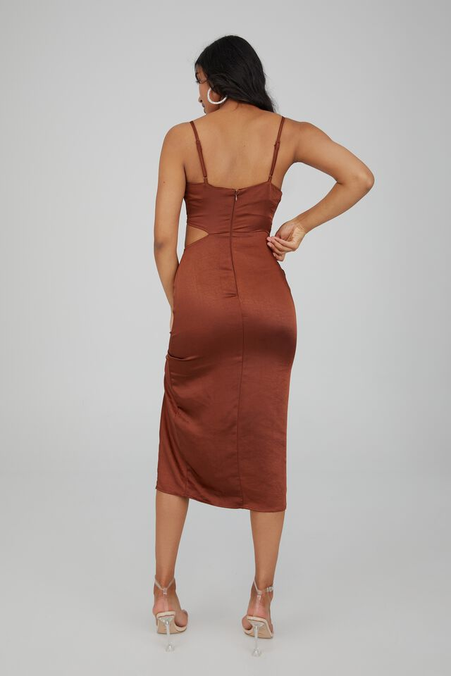 Joanna Ruched Cut Out Midi Dress, BURNT BUTTER