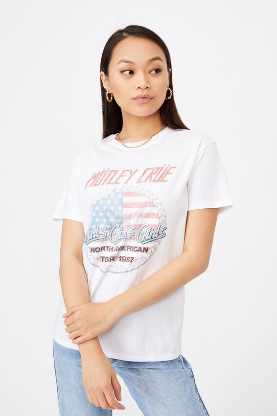 Kendall Printed T Shirt, WHITE/LCN MOT MOTLEY CRUE GIRLS