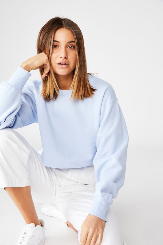 Crop Crew Neck Jumper, BLUE PETAL