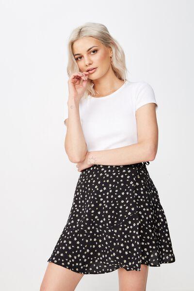 Macie Wrap Skirt, BLACK DITSY