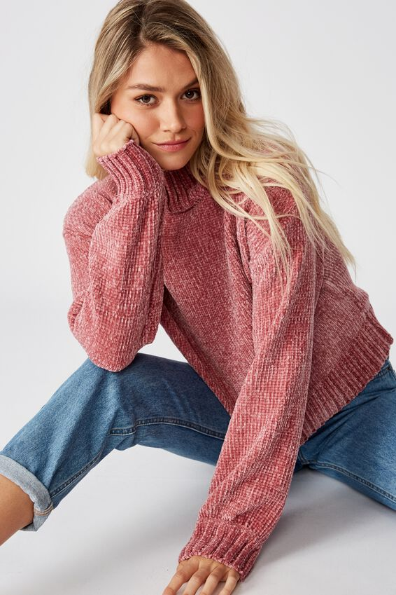 Vera Chenille Mock Neck Sweater, PINK ROUGE