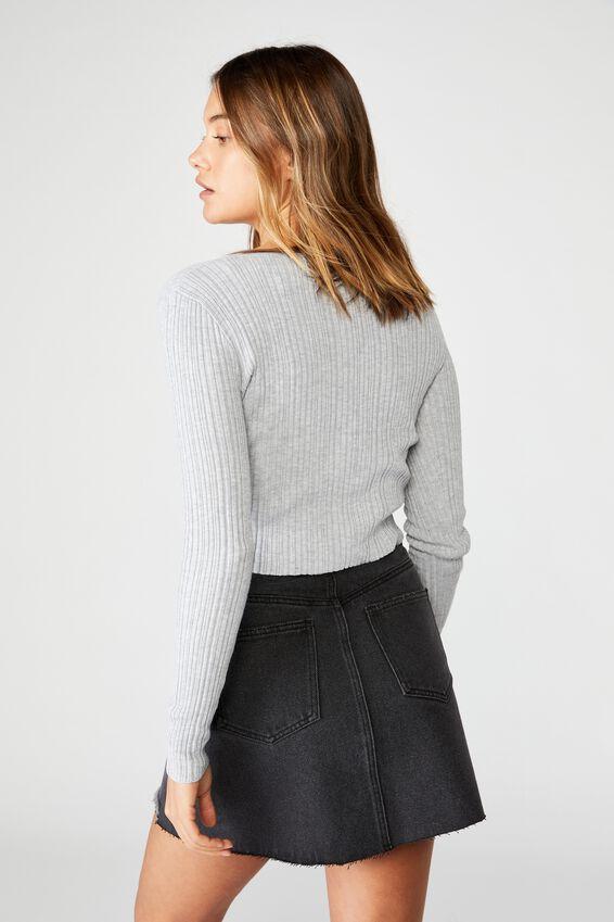 Ella Denim A-Line Skirt - Washed Black, WASHED BLACK