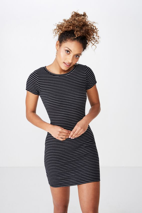Lucia Rib Tee Mini Dress, TERI STRIPE (BLK/WHT)