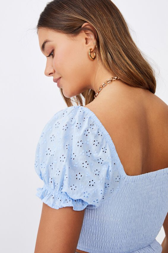 Tiffany Shirred Puff Sleeve Top, BLUE PETAL