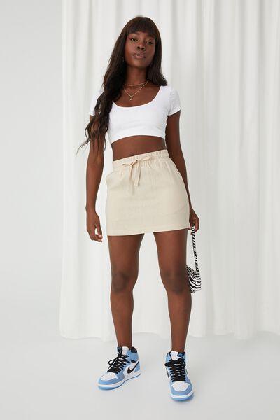 Orla Drawcord Linen Skirt, BEIGE BUFF