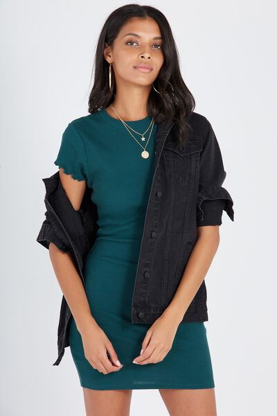 Rib Bodycon T-Shirt Dress, DARK GREEN