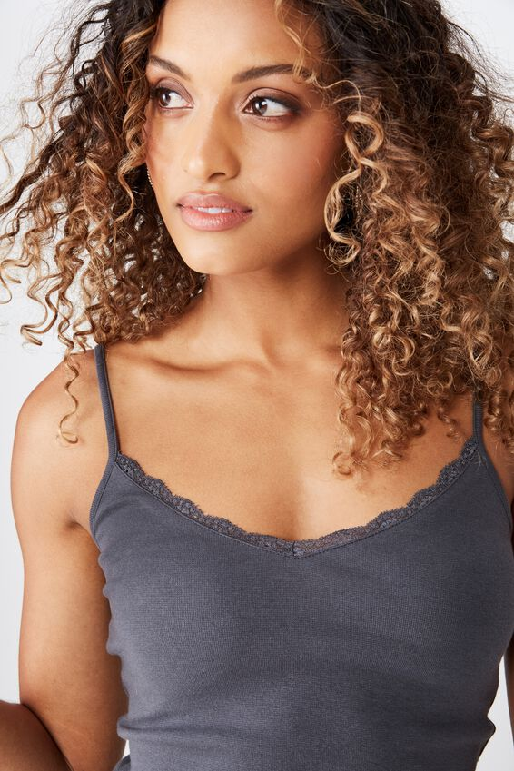 Iris Lace Trim Crop Cami, GRANITE GREY