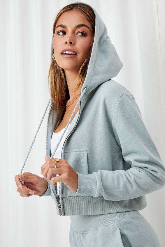 Elizabeth Zip Through Hoodie, MATCHA GREEN