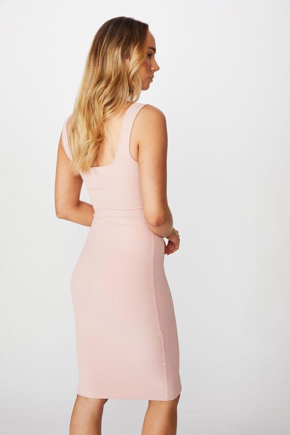 Square Neck Midi Dress, ROSE QUARTZ