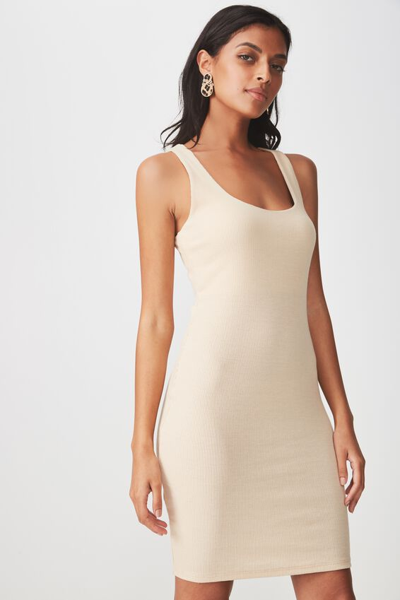 Rib Bodycon Mini Dress, FRAPPE