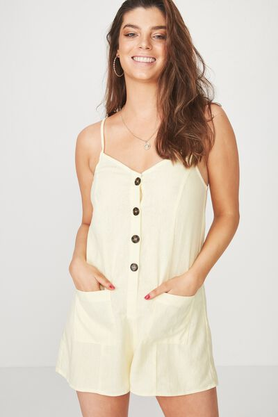 Button Front Playsuit, LEMON