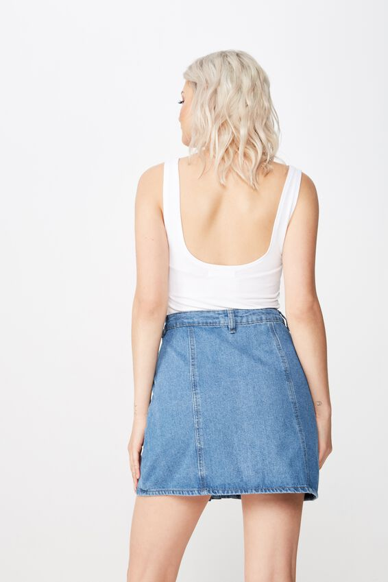 Ashley Button Through Denim Skirt, ORIGINAL BLUE