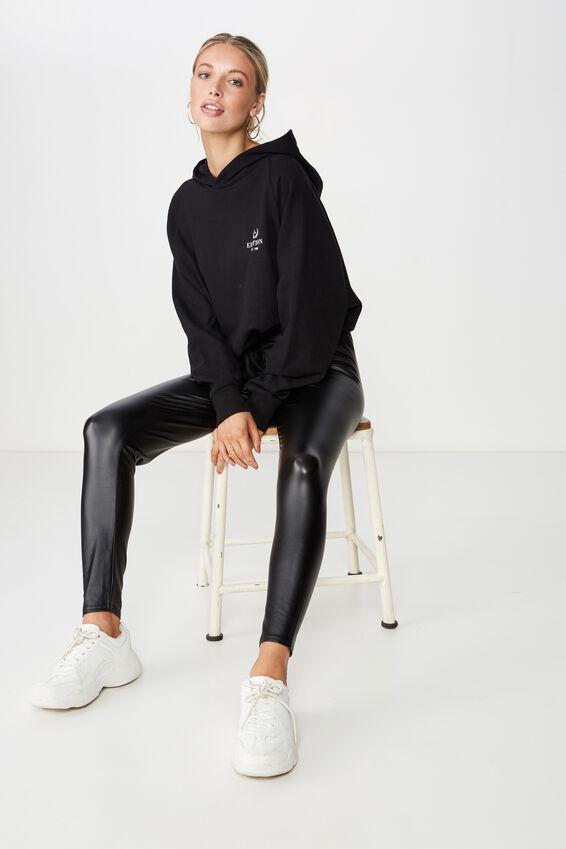 Chantel Fashion Legging, BLACK PU