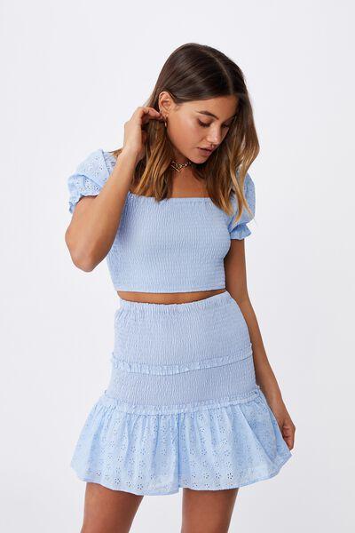 Violet Shirred Frill Hem Skirt, BLUE PETAL
