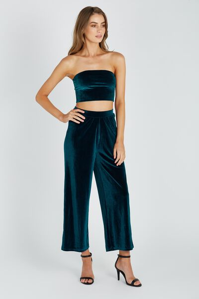Velour Wide Leg Pant, GREEN