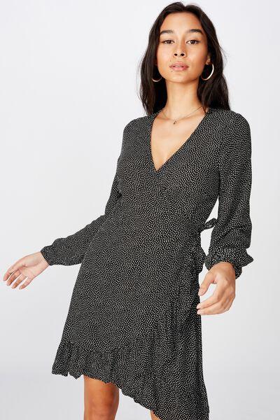 Drew Long Sleeve Wrap Dress, BLACK RICE SPOT
