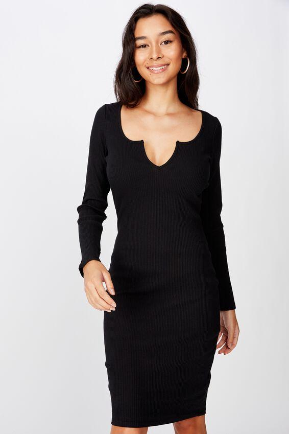 Seline Notch Front Dress, BLACK