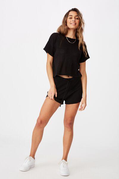 Brittany Knit Short Co Ord Set, BLACK